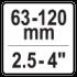 "63 -120 mm (2.5 - 4"")"