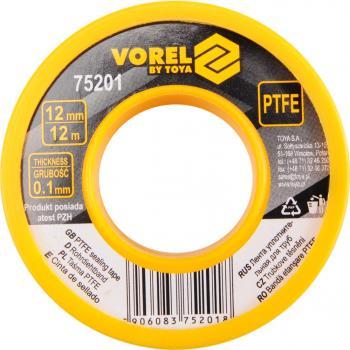 Bandă de teflon 12 mm x 0.1 mm x 12 m Vorel 75201