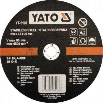 Disc debitat oțel inoxidabil 230 x 2.0 x 22 mm Yato YT-6107