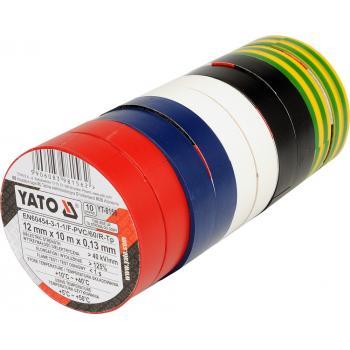 Set 10 buc banda izolatoare PVC Yato 12 mm x 10 m x 0.13 mm YT-8156