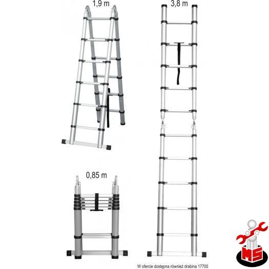 Scara telescopica din aluminiu 3.8m, 2x6 trepte Vorel